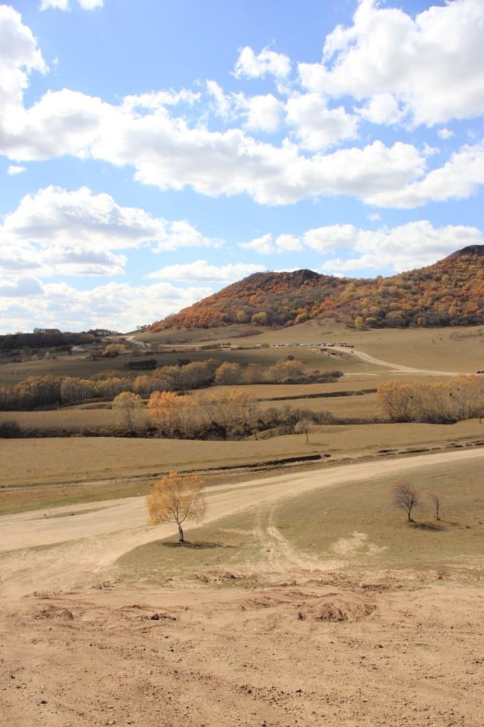 五彩山风景区每年的9月下旬至10月上旬,由于微霜冻的作用,山上不同的